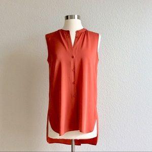 Theory Charmine Red Sleeveless Silk Blouse